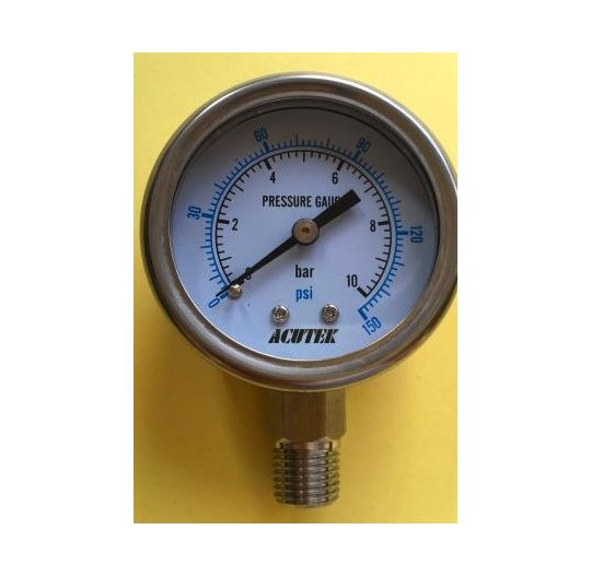 High temperature corrosion stainless steel pressure gauge