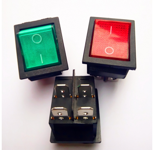 red and green illuminated rocker power switch